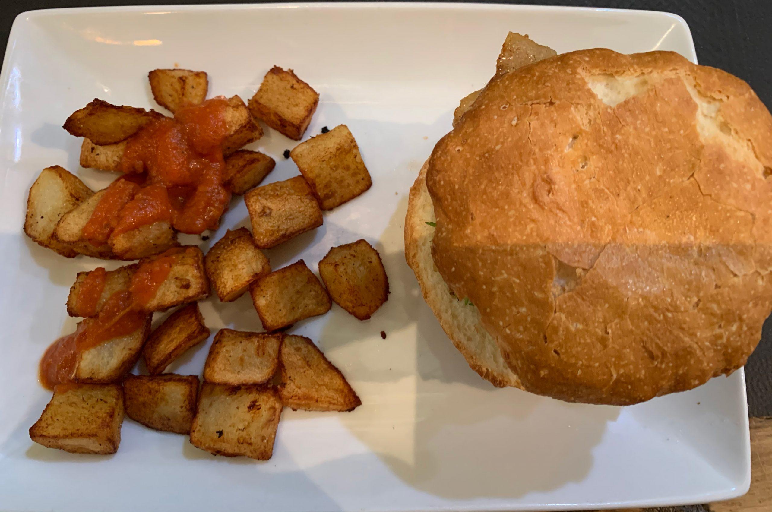 Pan sin gluten y las bravas de la hamburguesa